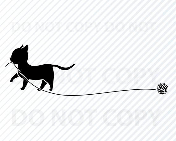 Download Cat With Yarn SVG File - Black & White Cat Vector Images ...