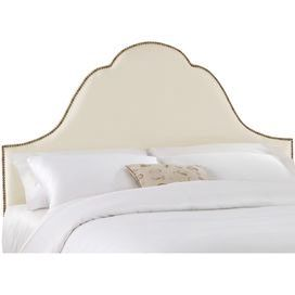"Nailhead-trimmed arched headboard. Handmade in the USA with solid pine wood.   Product: Headboard    Construction Material: Metal, pine wood, foam and linen    Color: Parchment   Features:  Handmade in the USA    Nailhead trim  Dimensions:   Twin:  56"" H x 61.5"" W x 4"" D  Full/Queen:  56"" H x 67.5"" W x 4"" D  King:  56"" H x  76"" W x 4"" D  California King:  56"" H x  87"" W x 4"" D  Cleaning and Care: Spot clean only"