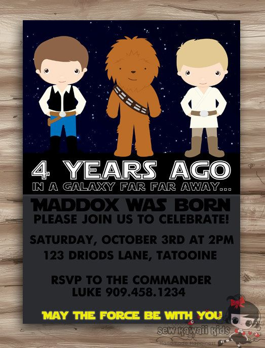 Star Wars Birthday Invitation Luke By SewKawaiiKids 1000