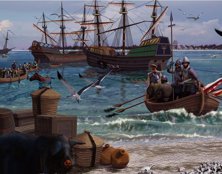 Hernando de Soto arriving in the New World