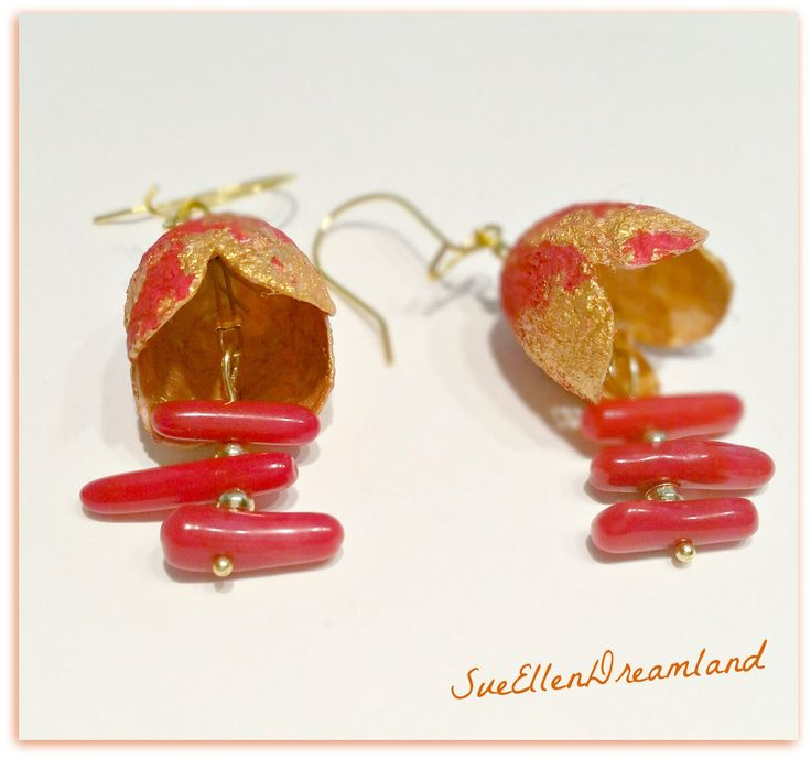 Mother's day Handmade Silk cocoon earrings, gift for Her,OOAK ,natural jewelry,Ready to ship,Dangle earrings,red gold,EGST by SueEllenDreamland on Etsy