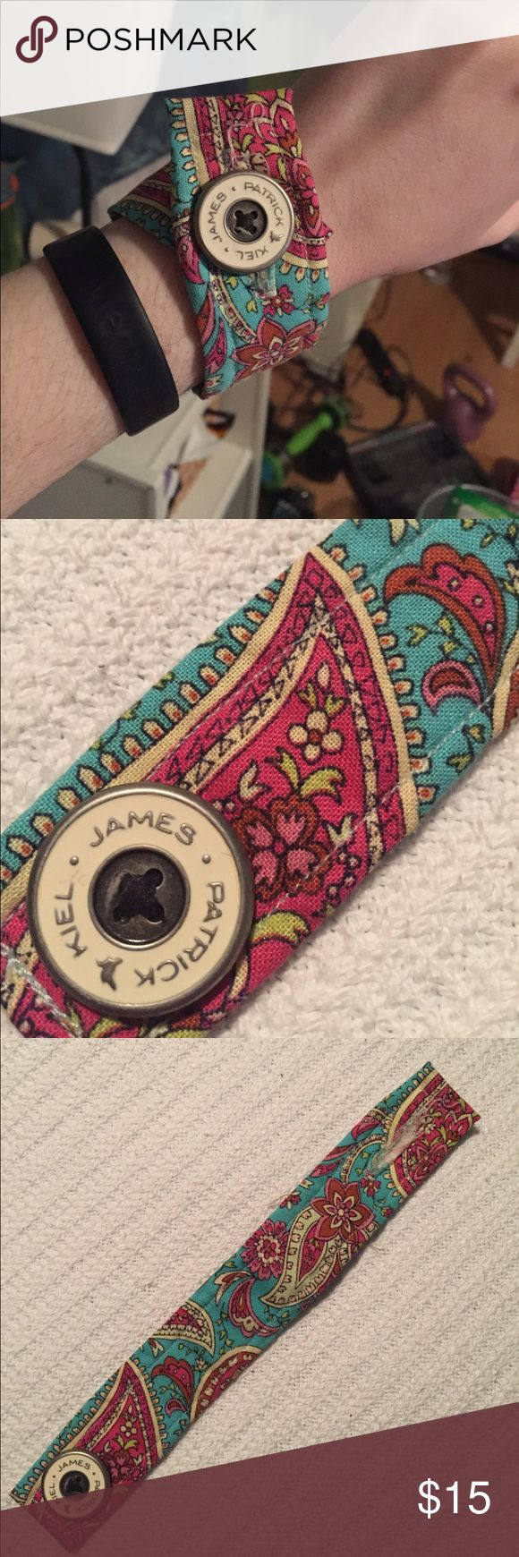 Kiel James Patrick fabric bracelet blue and pink Bright statement bracelet fits a small adult wrist.  Buttons.......PRICES FIRM              BUNDLE DISCOUNT 15%                            LONG TERM VACATION                HOLD STARTING 5/12                          BUY NOW Jewelry Bracelets