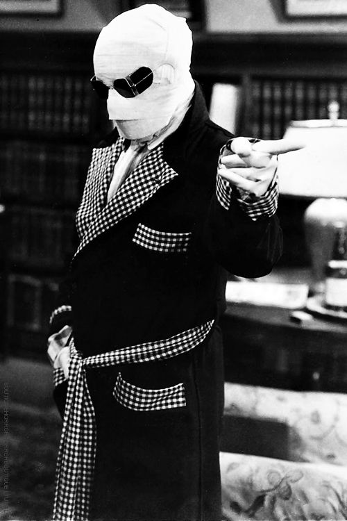 "Claude Rains in ""The Invisible Man.""  ""We shall begin with a reign of terror! A few murders here and there..."""