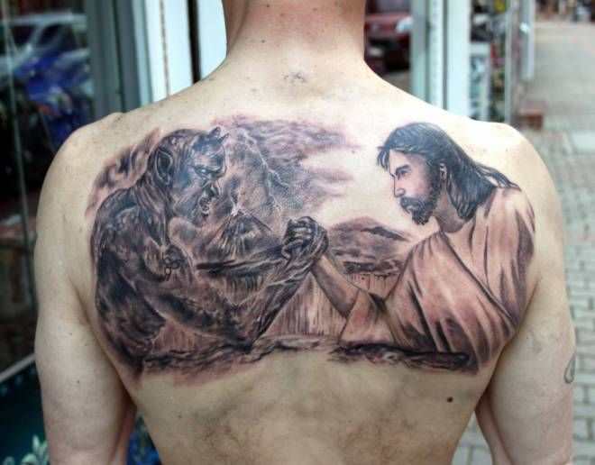 Jesus Vs Devil Tattoo Designs