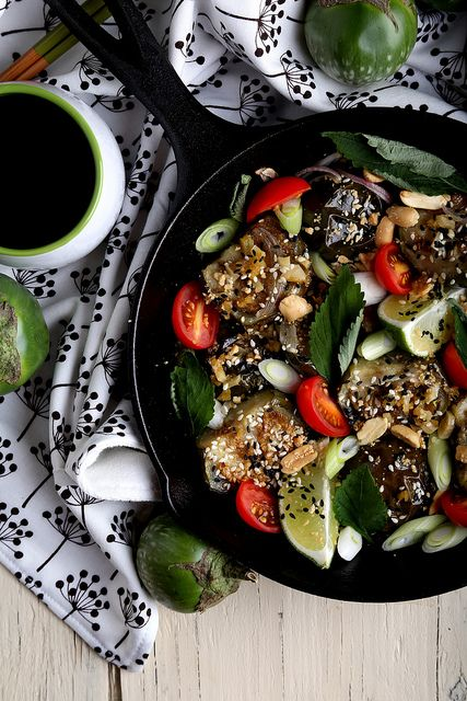 Olives for Dinner   Vegan Recipes and Photography: Roasted Thai Eggplant with Cherry Tomatoes and Basil