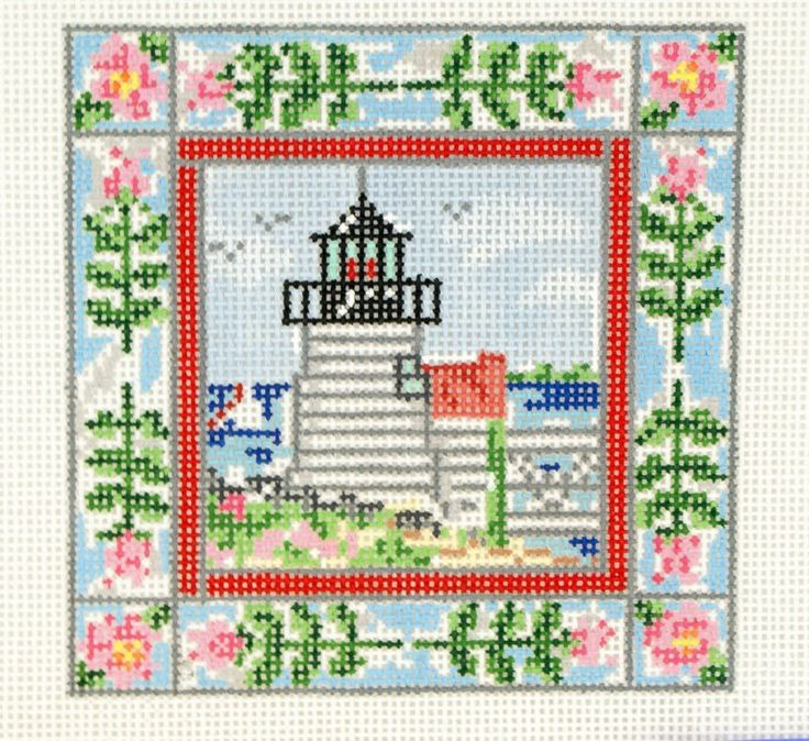 Cooper Oaks Lighthouse with Stripes and Floral Border needlepoint hp 18 ct | CanvasesBeGone