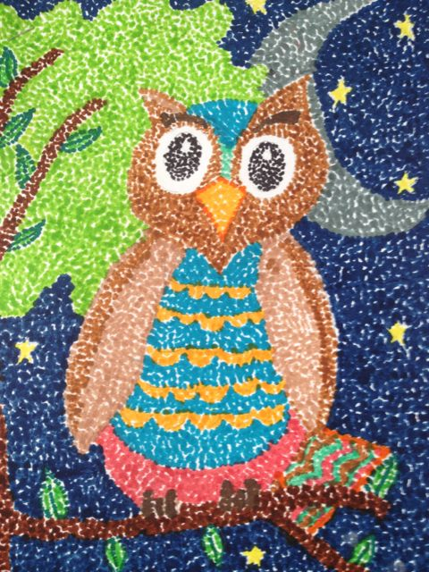 An owl picture made by sebas_speed, 6 years old,  recalls the Pointilist movement in Modern Art History. • Art My Kid Made #kidart #pointilism #owl #markers