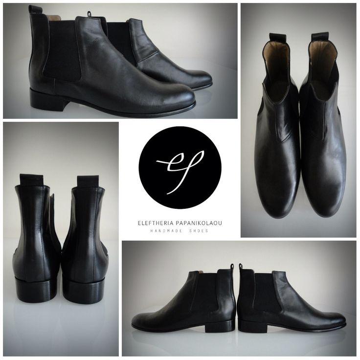 Black leather chelsea men's boots.