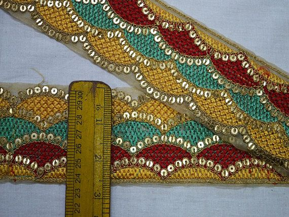 Yellow Decorative Embroidery Indian Trim By The Yard Crafting Ribbon Embroidered Saree Border Embellishments Bgas Heaband Blouse Trimmings