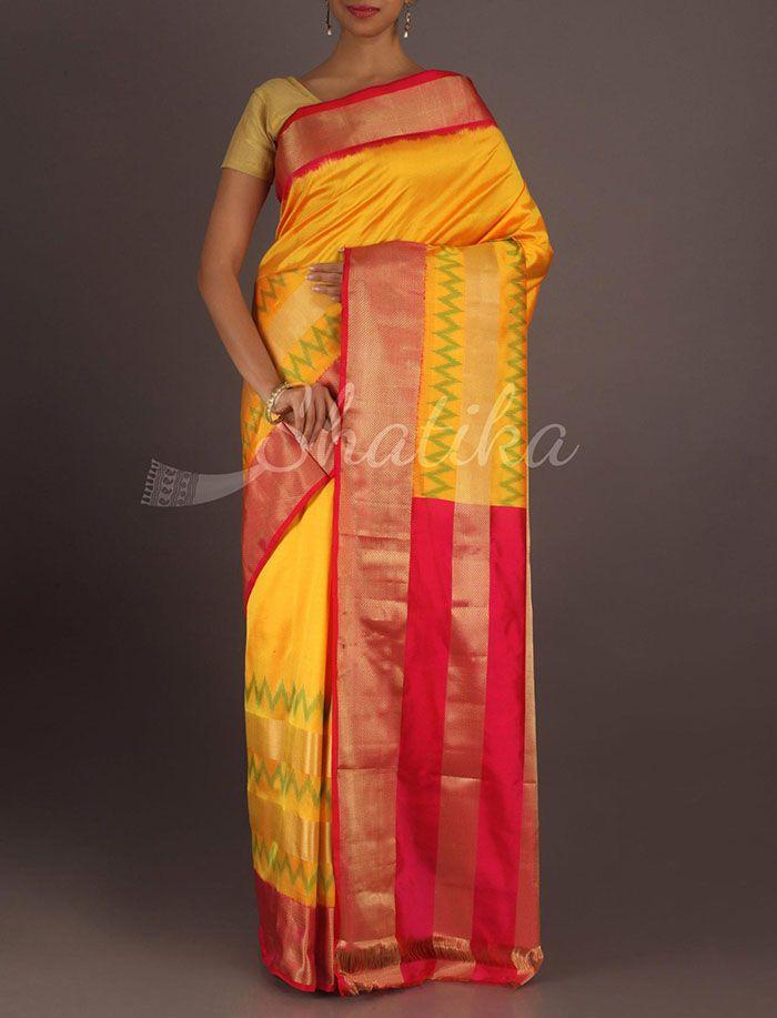 Srilalitha Pulsating Heart Beat Vibrant Ikat Pochampally Silk Saree