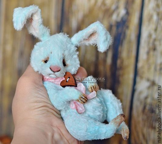 Мишки Тедди ручной работы. заяц Скай , кролик Тедди заяц бирюзовый цвет коллекционная игрушка. -Наталья Толстыкина-авторские мишки (natalytools). Ярмарка Мастеров.