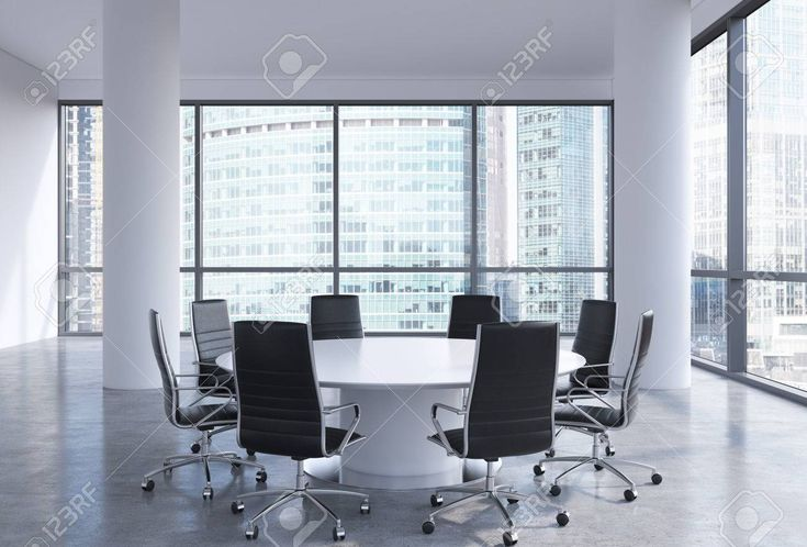 Panoramic conference room in modern office in Moscow business centre, so-called Moscow-City. White chairs and a white round table. 3D rendering. Archivio Fotografico - 43557646