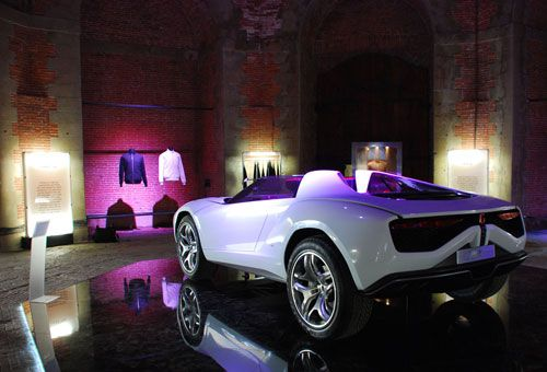 The octagonal center room of our exhibit at PItti 84, featuring the Giugiaro Parcour and Car Jackets.