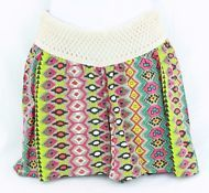 NEW Angel Kiss Maternity Shorts Crocheted Band Multi-Color Geometric Print S