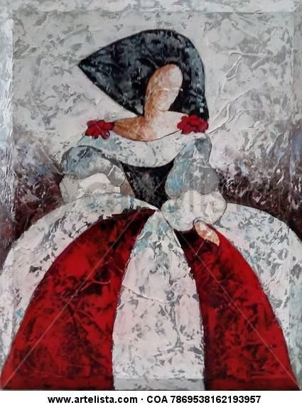 Comprar Menina textura roja, blanca y negra - Pintura de Ebora Ebora por 497,00 EUR y 10% de descuento en Artelista.com, con gastos de envío y devolución gratuitos a todo el mundo