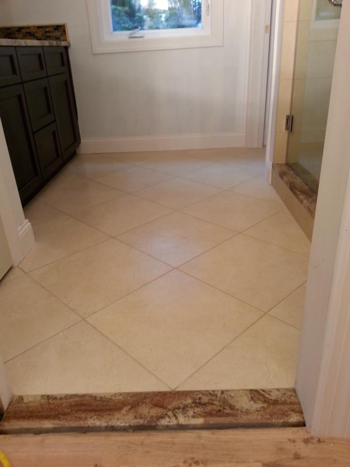 diagonal bathroom tile bathroom floor 18 quot x18 quot porcelain tile installed w 1 12684