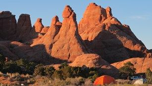 Arches National Park - the Devils Garden Campground with the La Sal Mountains in the distance