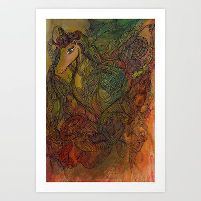 Unicorn Art Print by Valerie Parisius - $17.00 www.valerieparisius.com