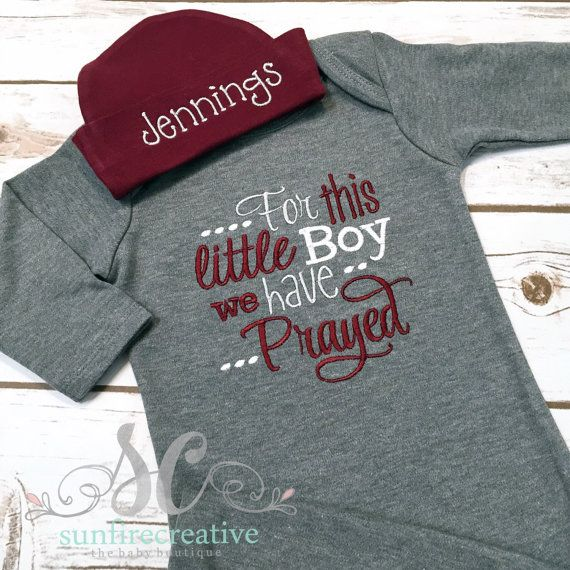 For this little Boy we have Prayed Baby Boy Gown Maroon & Gray - Christian Baby Shower Gift - Baby Boy Coming Home Gown - Pregnancy Announce