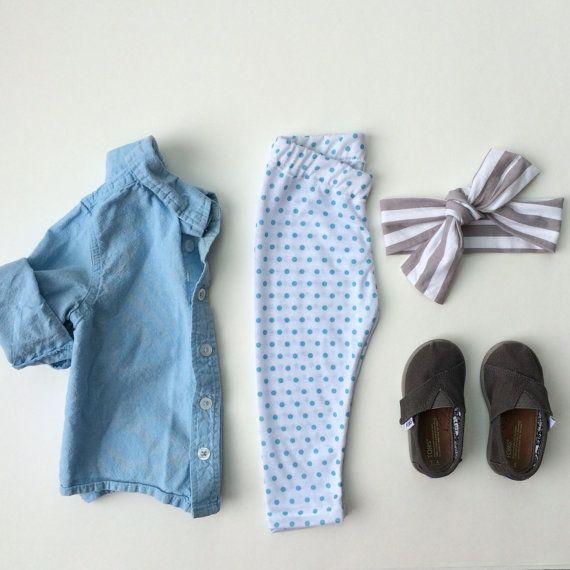 Blue Polkadot leggings / Baby Girl Leggings / by SimpleSawyer