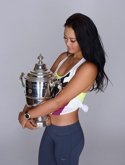 Michelle Wie with her first Major win trophy (US Open).