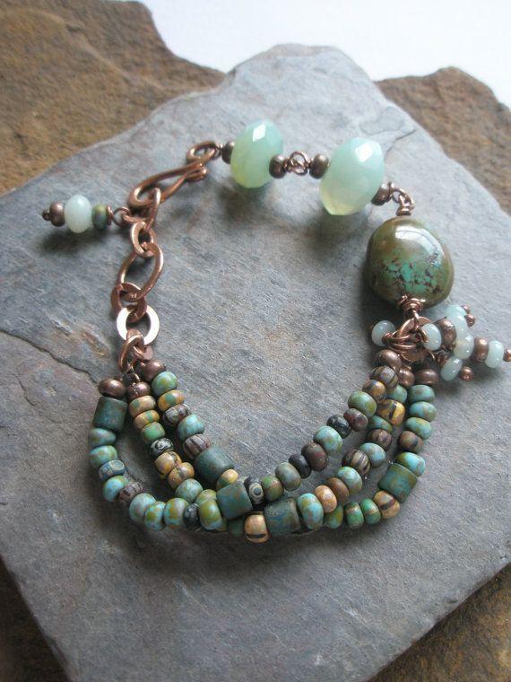 Gemstone Bracelet, Turquoise, Amazonite, Czech glass beads and copper, via Etsy.