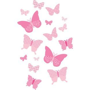 Buy FunToSee Pink Butterflies Room Kit at Argos.co.uk - Your Online Shop for Wall art and canvases #ArgosRoomInspiration
