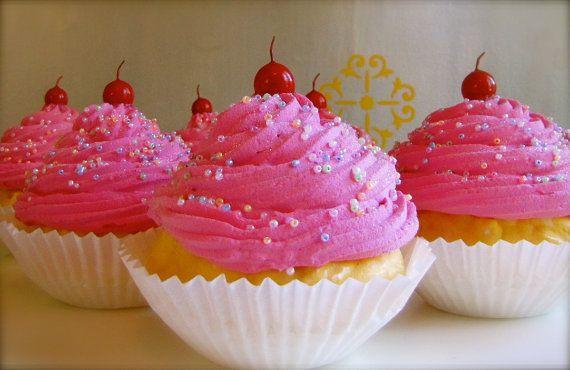 Fake Cupcakes JUMBO Hot Pink Cupcakes