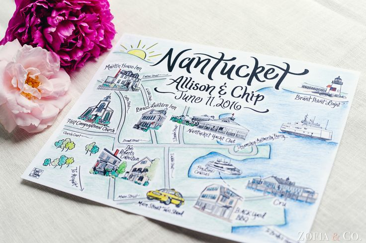 Map of Nantucket for a Wedding at the Nantucket Yacht Club and First Congregational Church by Mark at Zofia & Co. #nantucket #nantucketweddings
