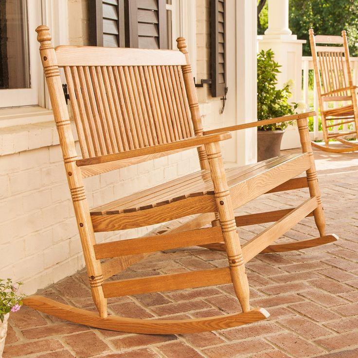 4' Oak Double Rocking Chair - from Cracker Barrel - I need this on my front porch… or in my backyard. either way, I need it!