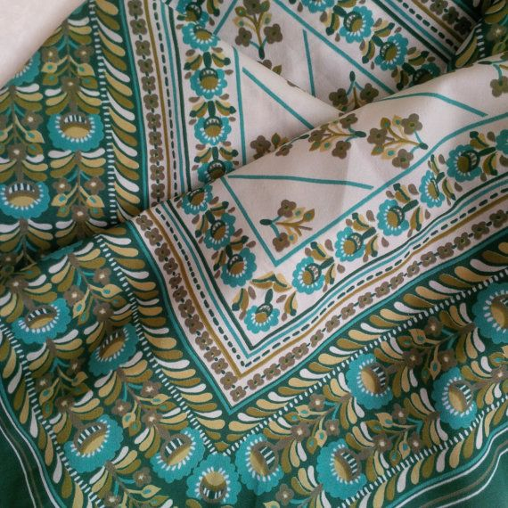 Vintage fabric beautiful floral pattern  green brown by bila
