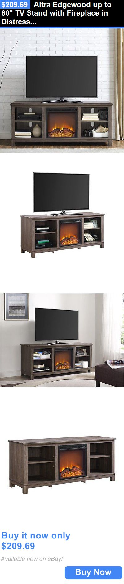 Entertainment Units TV Stands: Altra Edgewood Up To 60 Tv Stand With Fireplace In Distressed Brown Oak BUY IT NOW ONLY: $209.69