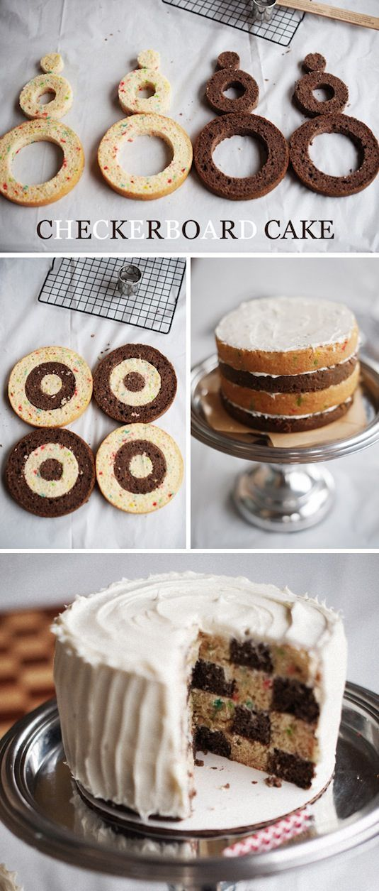 Vem skulle inte bli imponerad av en rutig tårta? Vi Föräldrars redaktion skulle garanterat slänga sig över den här skapelsen! Mycket enklare att knåpa ihop än man först tror. Baka två olika valfria baser, skär ut enligt mönstret ovan och sätt ihop igen. Tada!