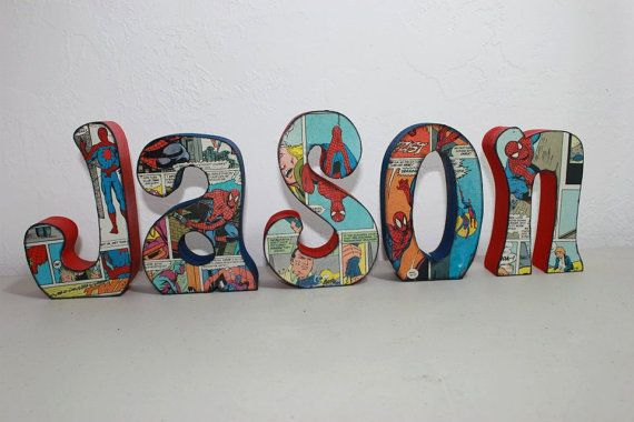 Personalized and Custom Wood Letters Name Last by WickedWoodwork, $6.00-Oh how I would love this for the boys room!