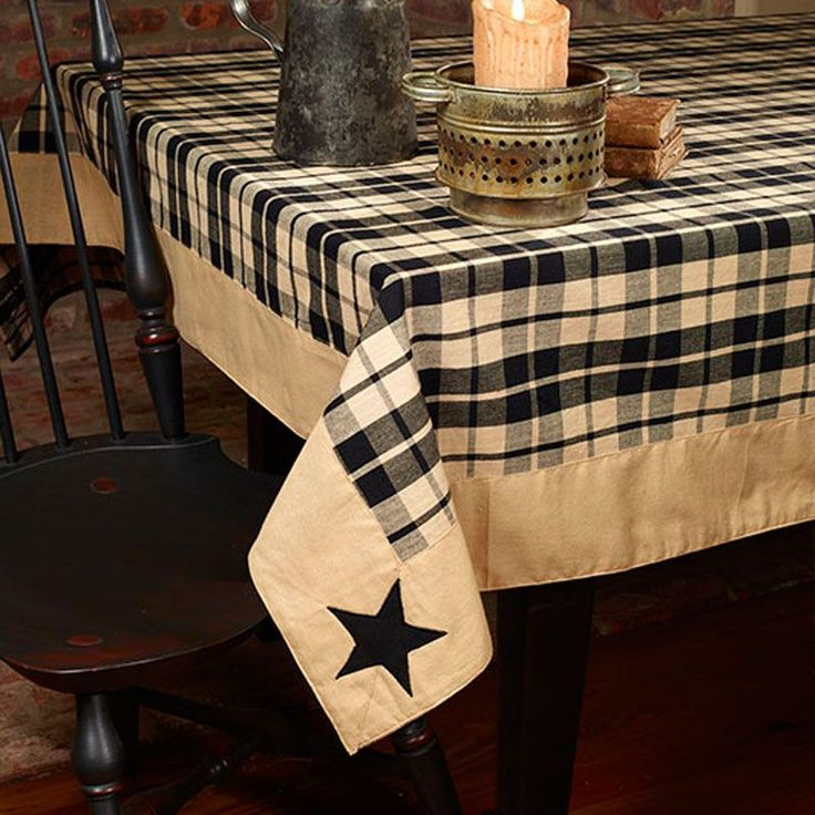 farmhouse star black tan plaid primitive applique cotton tablecloth