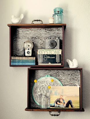 Thinking about taking the dresser apart - take the drawer out of that wood dresser and turning them into shelves.