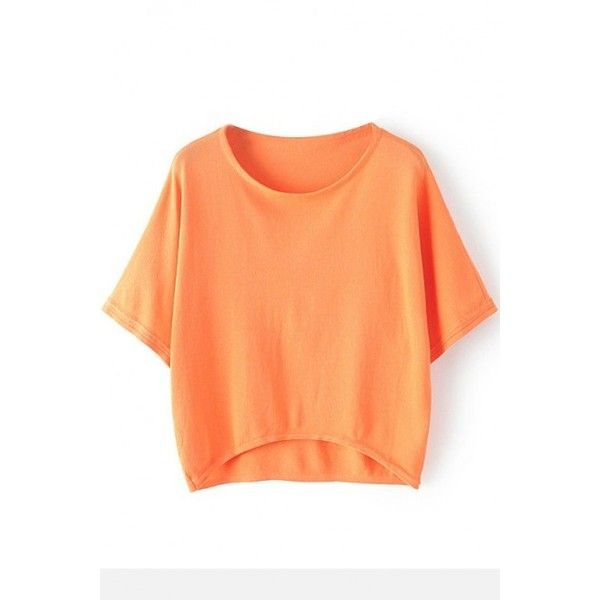 LUCLUC High Low Orange Batwing Sleeve Knit T-shirt ($17) ❤ liked on Polyvore featuring tops, t-shirts, red top, red t shirt, knit tee, red tee and knit t shirt