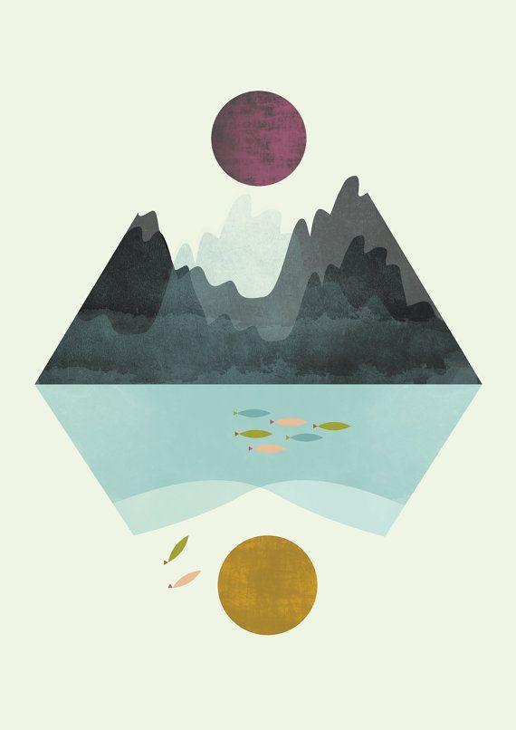 Geometric print minimalist print minimalist art pastel by FLATOWL