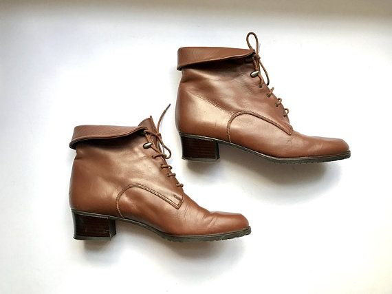 Brown leather ankle boots
