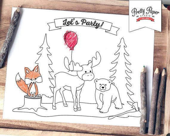 coloring page buffalo plaid woodland instant download lumberjack birthday party activity fox moose bear printable bp06