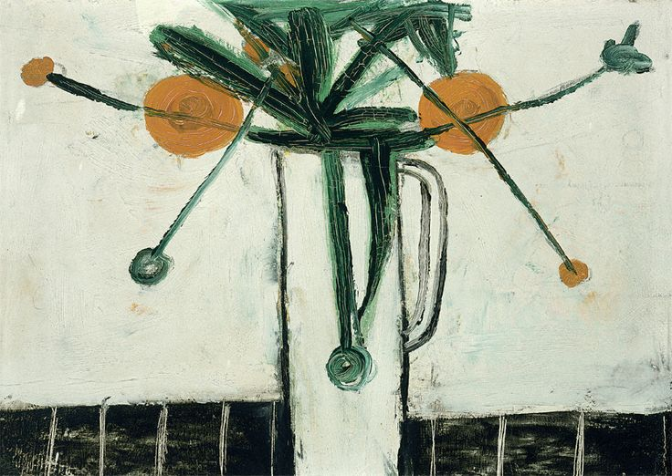 William Scott, [Marigolds in a Jug], 1947 or 1948, Oil on board, 25.6 × 35.5 cm / 10 × 14 in, Private collection