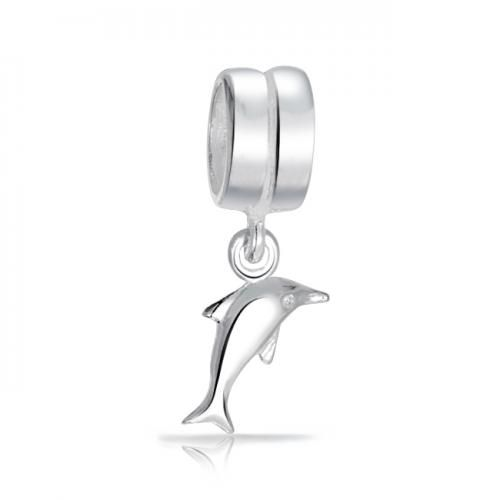 925 Sterling Silver Nautical Dolphin Dangle Charm Bead Fits Pandora