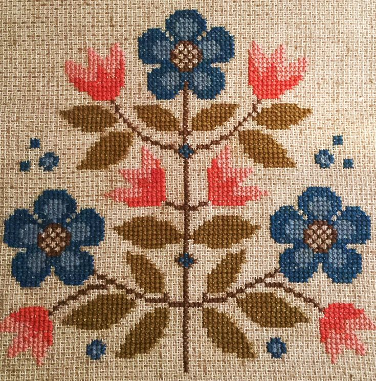 60s mid century modern vintage hand embroidery
