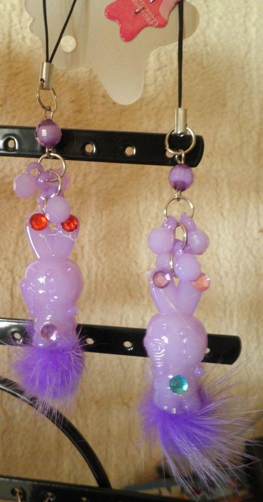 bijou de téléphone portable lapin violet fourrure-strass diamant-perles facette