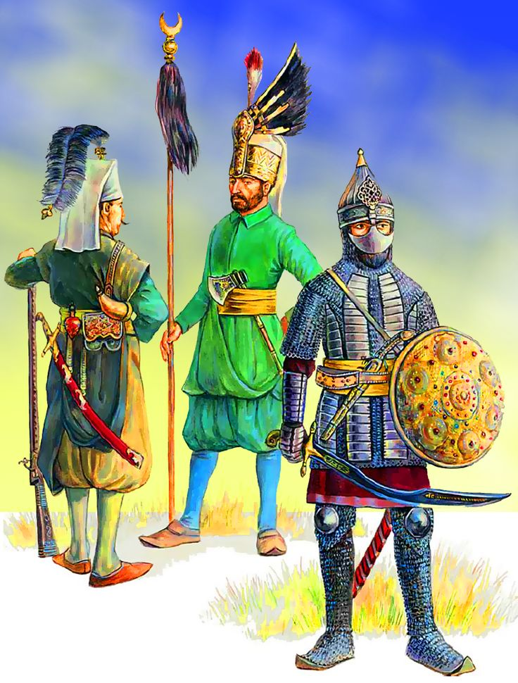 An Ottoman Sipahi cavalryman on the right, and two Janissaries guards