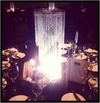 Tall hanging crystals with LED glow Presented on mirror base with tea lights