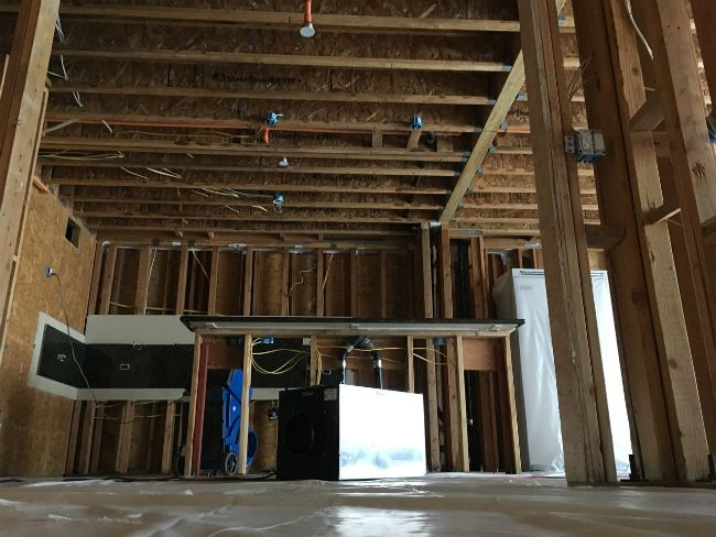 Water and mold damaged condo with restoration from Gold Coast Flood REstorations.