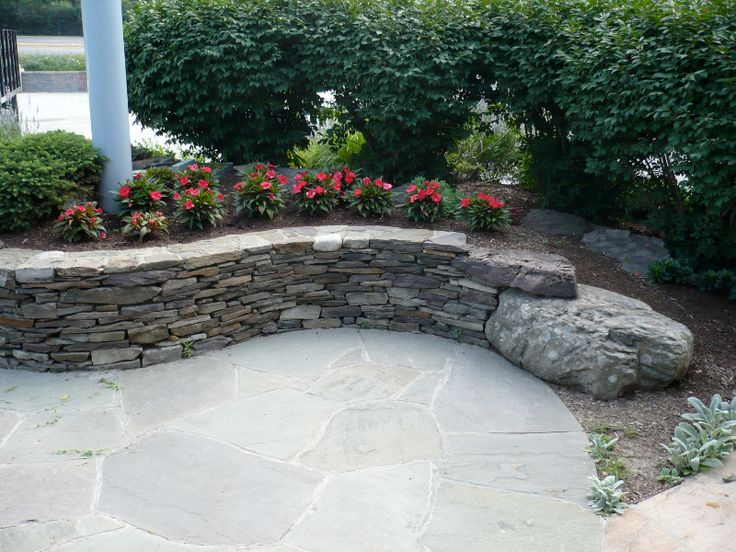 26 best images about patios on pinterest stone patios for Stone retaining wall ideas