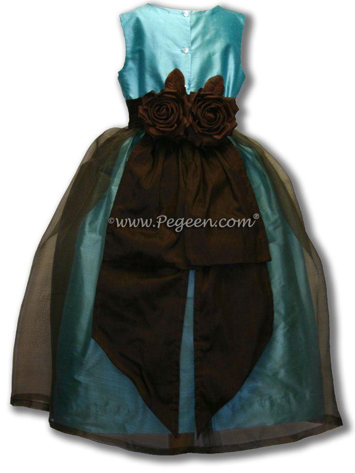 Bridesmaid Dresses Chocolate Brown Tiffany Blue - Flower Girl Dresses