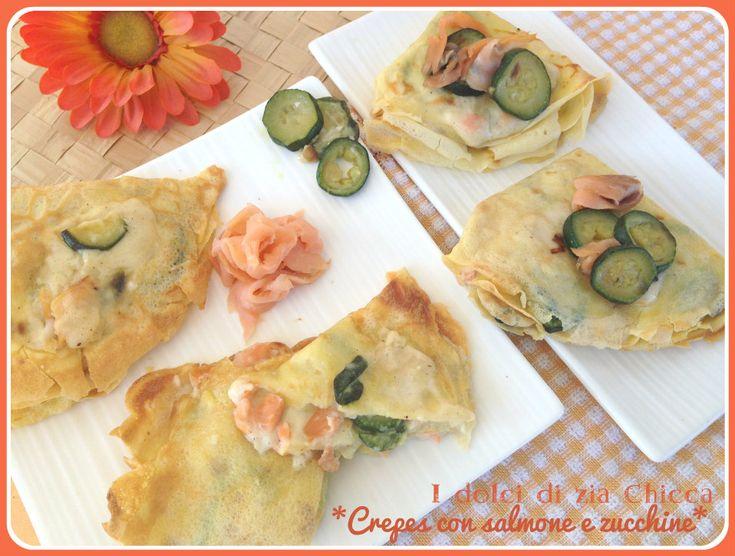 Crepes con salmone e zucchine